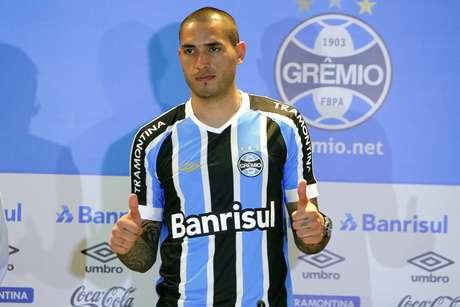<p>Braian Rodríguez é esperança de gols do Grêmio</p>