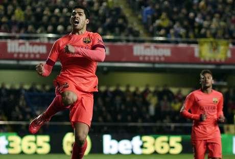 Suárez vibra com gol marcado contra o Villarreal