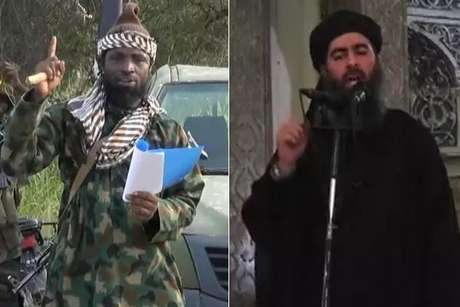 <p>Líder do Boko Haram, Abubakar Shekau, ao lado do líder do Estado Islâmico,Abu Bakr al-Baghdadi</p>