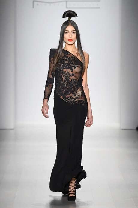 Vestido Michael Costello, na Semana de Moda de Nova York