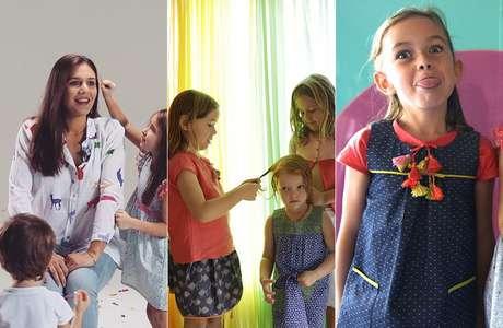 """A estilista interage com as crianças em sessão de fotos e diz priorizar """"conforto e liberdade"""" das roupas infantis"""