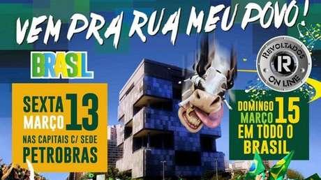 Panfleto na internet do grupo Revoltados On Line convoca para manifestações na sexta e no domingo