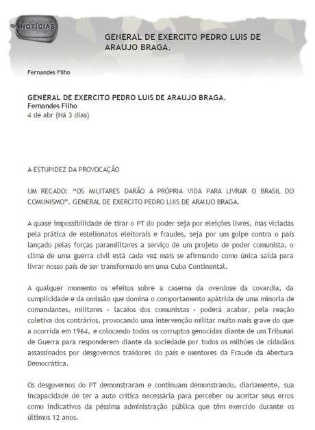 O falso artigo está veiculando na internet desde 2014, afirma o general da reserva Pedro Luis Braga Foto: Asmir-PB / Reprodução
