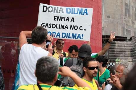 <p>Entre os manifestantes, também há grupos que defendem o impeachment da presidenteDilma</p>