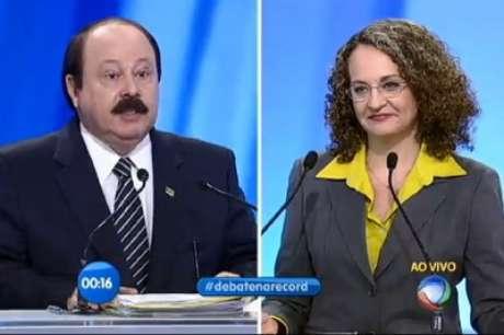 <p>Reprodução do momento do embate entre Levy e Luciana em debate televisivo do ano passado</p>