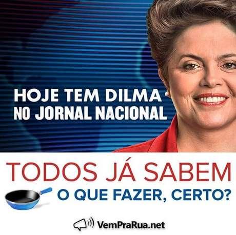 <p>Movimento divulgou imagem avisando que, nesta noite, um novo panelaço aconteceria durante o Jornal Nacional</p>