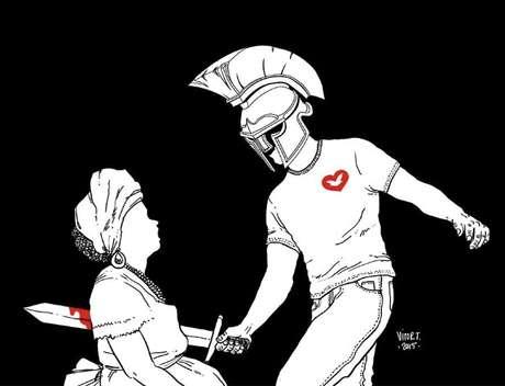 """Charge do cartunista Vitor Teixeira com """"gladiador"""" vestindo a camisa da Universal"""