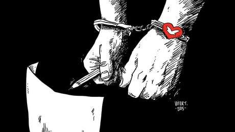 """Após a polêmica, Vitor publicou outra arte simbolizando as """"algemas da Universal"""""""