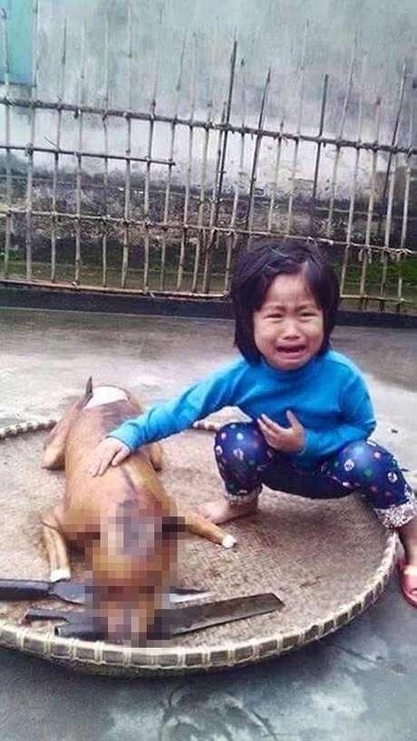 Menina de 5 anos chora ao ver seu cão assado em mercado