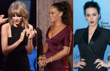 Taylor Swift apareceu de preto metalizado, Rihanna escolheu um tom vinho e Katy Perry apostou na mega tendência do bronze com pouco brilho