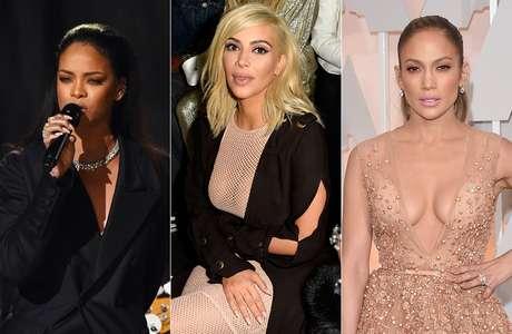 Rihanna, Kim Kardashian e Jennifer Lopez usaram unhas postiças compridas pintadas com esmaltes nudes leitosos e bem cremosos
