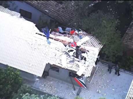 <p>Imagem aérea mostra local de acidente com helicóptero</p>
