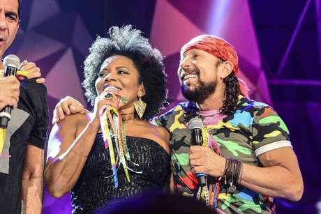 Margareth Menezes e Bell Marques durante gravação