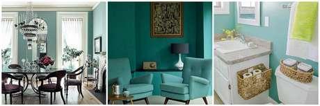 Decoraci n colores para pintar paredes o muros de for Pintura verde aguamarina