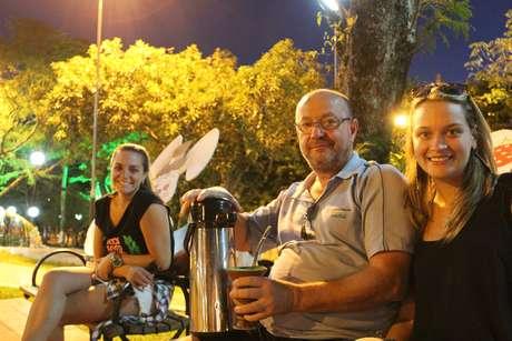 <p>Fernanda, Carlos e Rafaela, moradores de Horizontina</p>