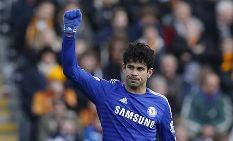 Diego Costa em partida do Chelsea no Campeonato Inglês contra o Hull City. 22/03/2015