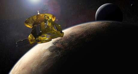 Ilustração mostra a sonda New Horizons próximo de Plutão e de sua lua maior, Caronte