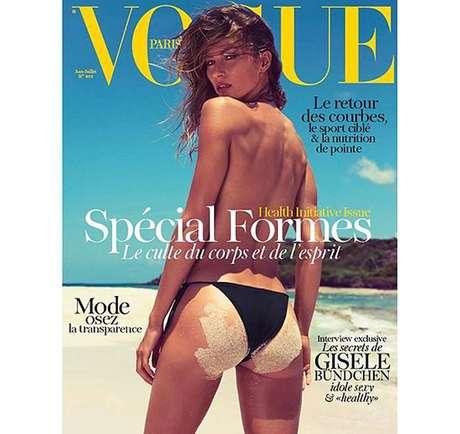 Gisele Bündchen foi uma das mais comentadas no Twitter ao aparecer na capa da Vogue francesa usando biquíni e com o bumbum cheio de areia