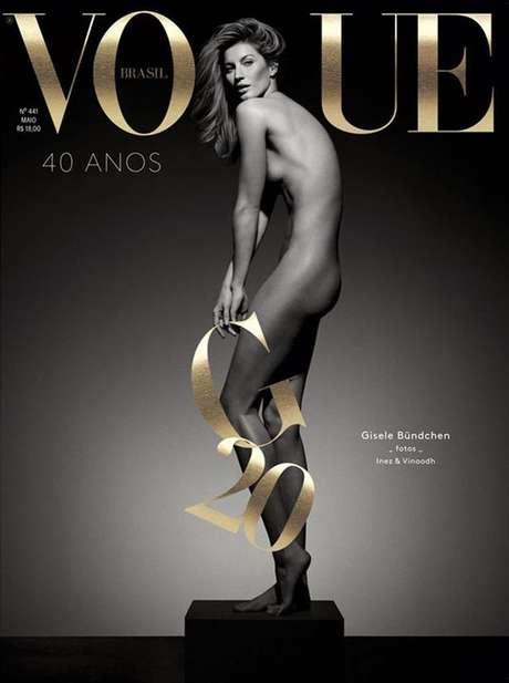 Gisele posou nua para a capa da edição especial da Vogue Brasil em comemoração os 20 anos de sua carreira