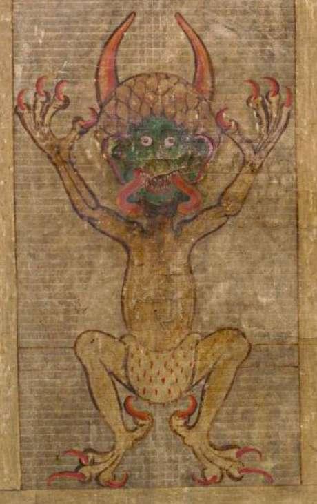 Lenda do manuscrito diz que o Diabo concordou e assinou o trabalho, adicionando um autorretrato