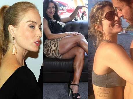 Apaixonadas, famosas como Angélica, Gracyanne Barbosa e Priscila Fantin estamparam na pele o amor que sentem pelos seus parceiros
