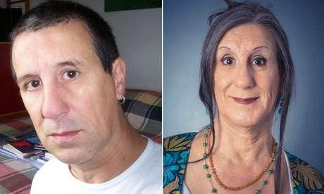 Foto à esquerda, Laerte Coutinho em 2008, aos 56 anos e na imagem à direita, em 2012, aos 60
