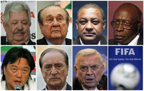 Dirigentes envolvidos no escândalo da Fifa (da esquerda para a direita, de cima para baixo): Rafael Esquivel, Nicolas Leoz, Jeffrey Webb, Jack Warner, Eduardo Li, Eugenio Figueredo e José Maria Marin