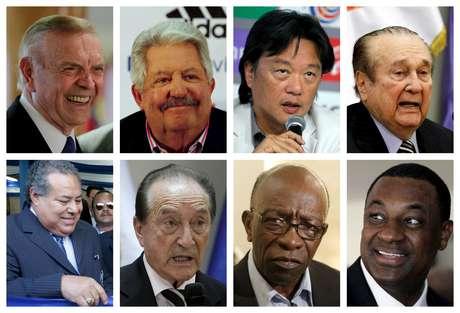 Montagem com oito dos indiciados no escândalo da Fifa