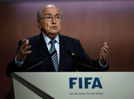 Joseph Blatter discursa durante o 65º Congresso da Fifa