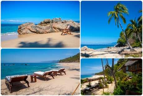 Mira el relajante paisaje de Casitas Maraika en Playa Caballo, Las Ánimas, cerca de Boca de Tomatlán.