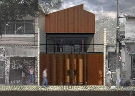 Perspectiva da fachada da nova sede do Instituto Brincante que vai unir duas pequenas casas próximas à antiga sede