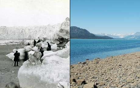 Imagem mostra geleira no Alaska em 1882 e 2005