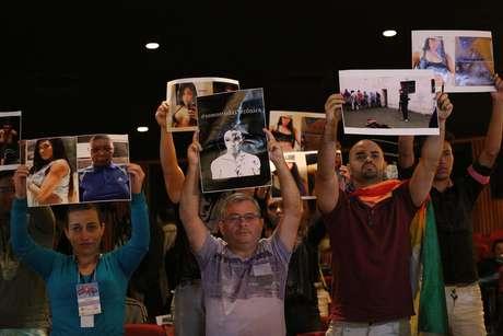 Protesto em favor da travesti Verônica, durante a abertura da 19ª Parada do Orgulho LGBT