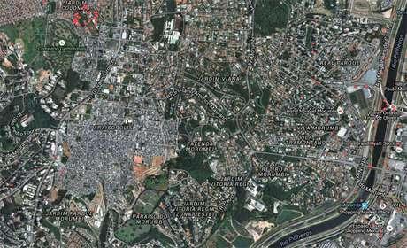Mapa de Paraisópolis; comunidade está inserida na região nobre do Morumbi