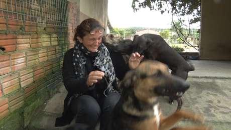 Raquel, administradora do local, brinca com os cães