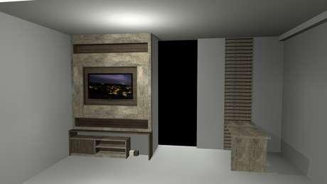 Para a sala da Elzira, arquiteta sugere cadeiras compactas e sofá na medida exata da parede; estes elementos são detalhes que fazem diferença em apartamentos pequenos