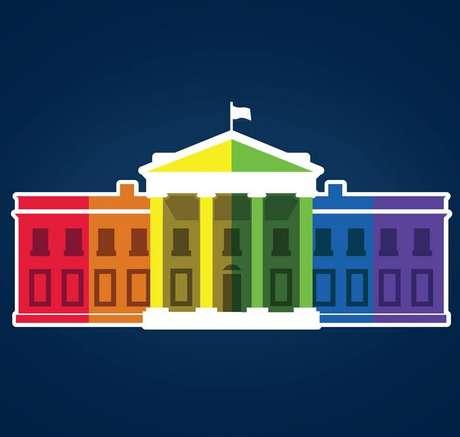 Casa Branca colocou uma imagem da mansão presidencial colorida com o arco-íris em seu perfil oficial no Facebook