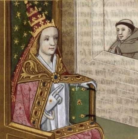 Ilustração da Papisa Joana datada de 1560