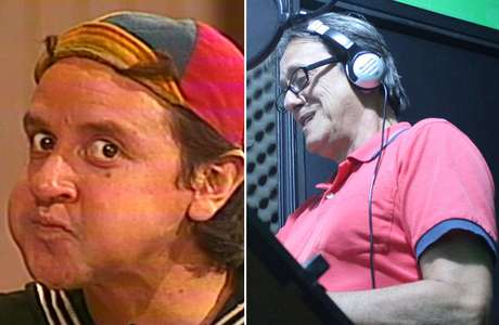 Personagem Quico e o dublador Nelson Machado