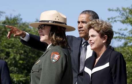 Obama e Dilma no memorial de Martin Luther King em Washington. 29/06/2015