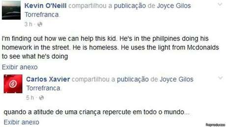 """""""Estou tentando descobrir como ajudar este garoto"""", diz um dos compartilhamentos do post de Joyce no Facebook"""