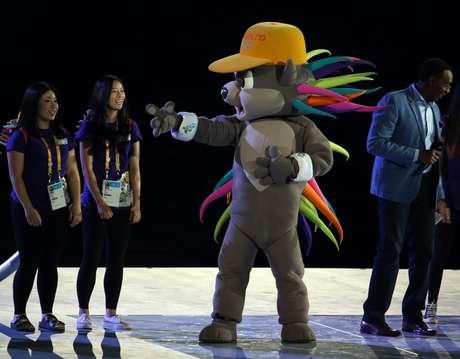 Mascote do Pan, o porco-espinho Pachi se divertiu no encerramento