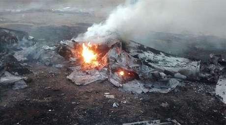 Imagem tirada após o acidente por integrantes do MST