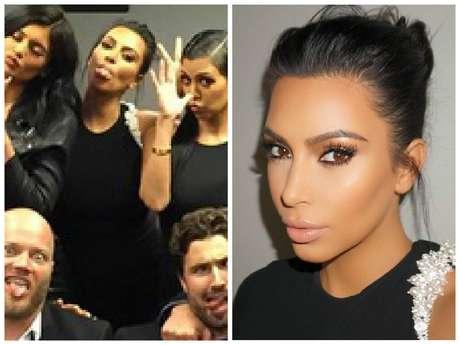 Kim Kardashian escolheu longo preto com pérolas bordadas em um dos ombros, assinado pelo estilista Alexandre Vauthier
