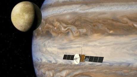 Os cientistas suspeitam que embaixo da capa de gelo das luas geladas de Júpiter existem oceanos de água em estado líquido