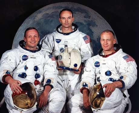 Da esquerda para a direita: Neil Armstrong, Michael Collins e Buzz Aldrin