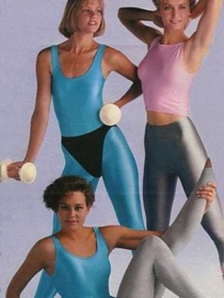 Collants eram super usados nos anos 80 para fazer ginástica e para compor um look mais descolado