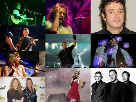 De arriba a abajo, de izquierda a derecha: Luis Alberto Spinetta, Metallica, Ely Guerra, Iron Maiden, Led Zeppelin, Fabulosos Cadillacs, Café Tacuba, Gustavo Cerati, David Bowie y Pink Floyd.