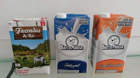 As caixas são das marcas Fazendas do Rio e Barra Mansa