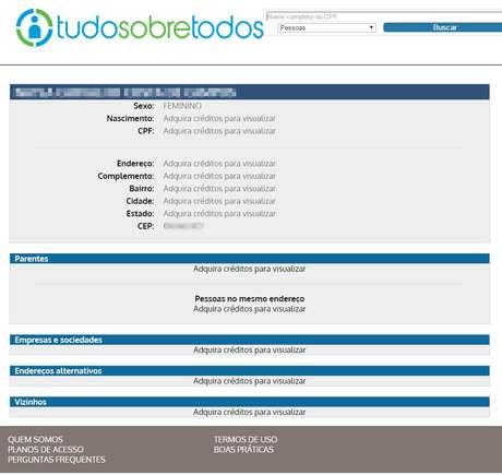Site oferece dados pessoais de brasileiros